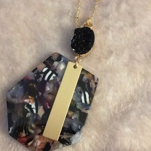 new long Druzy bar necklace